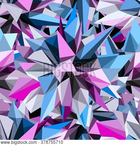 Abstract Geometric Asymmetric Triangle Seamless Pattern. Vector Background