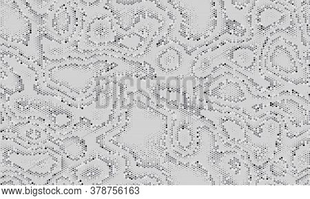 Seamless Texture Pattern. Halftone Dots Background. White, Gray, Silver Fashion Camouflage. Abstract