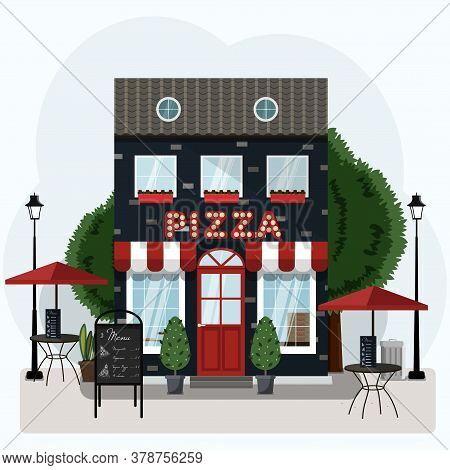 Facade Of A Pizza Restaurant With Outdoor Tables And Home Delivery.  Illustration Of A Pizzeria With