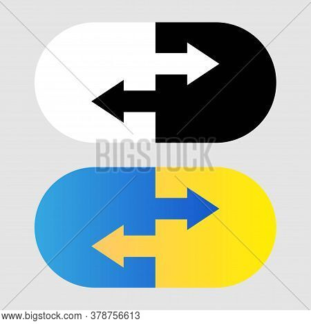 Data Transfer Icon. Two Transfer Arrows In Capsule. Black And White And Gradient Icon. Transfer Logo