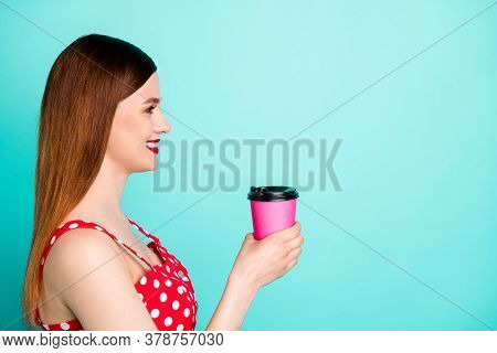Closeup Profile Photo Of Attractive Pretty Lady Bright Pomade Look Side Empty Space Hold Hot Fresh T