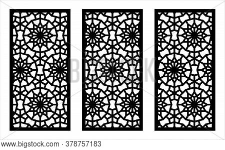 Laser Pattern. Decorative Vector Panels For Laser Cutting. Template For Interior Partition In Arabes