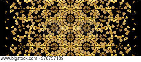 Arabesque Vector Seamless Pattern. Geometric Halftone Texture With Black And Gold Tile Disintegratio