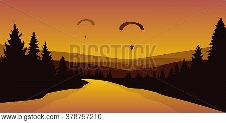 Paraglider By Big River In A Forest Autumn Landscape Vector Illustration Eps10