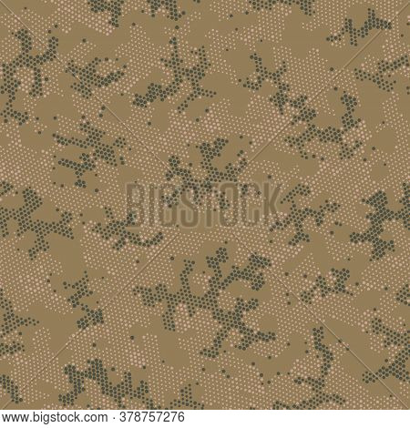 Seamless Vector Patterd Design.  Repeated Graphic Beige Doted, Camo Pattern. Khaki Seamless Point Ca