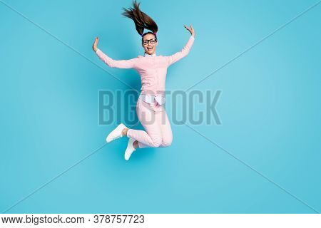 Full Length Body Size View Of Her She Nice Attractive Pretty Glad Cheerful Cheery College Girl Jumpi