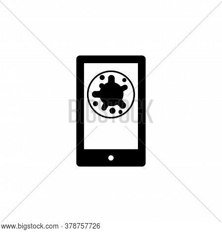 Virus, Bacteria In Smartphone Icon, Symbol, Sign. Coronavirus, Covid-19 Icon, Logo Black On White Ba