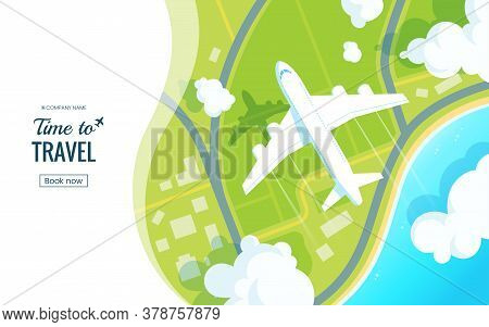 Traveling On Airplane Vector Illustration. Plane Flying Over The Ground In The Clouds. View From Abo