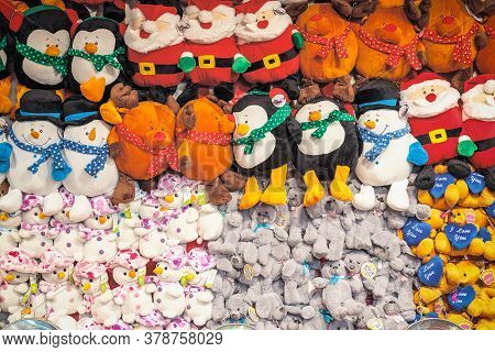 London, Uk - November 25, 2019 - Assorted Stuffed Toys On Display Awarded As Wining Prizes At The Ch