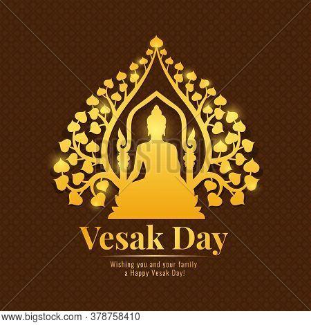 Vesak Day Banner With Gold Buddha Meditate Under Bodhi Tree Sign On Flower Brown Pattern Background