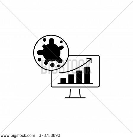 Virus, Bacteria And Schedule, Chart, Graph Is Growing Grow On Monitor (board) Icon, Symbol, Sign. Co