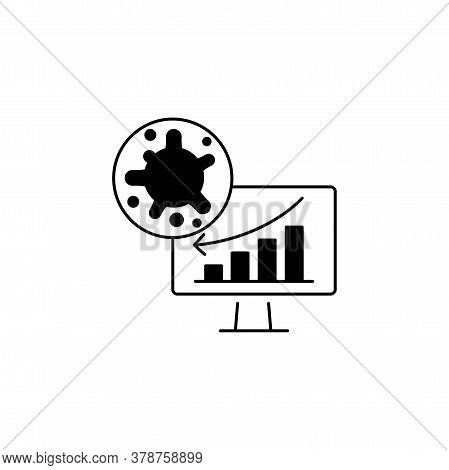 Virus, Bacteria And Schedule, Chart, Graph On Monitor (board) Icon, Symbol, Sign. Coronavirus, Covid