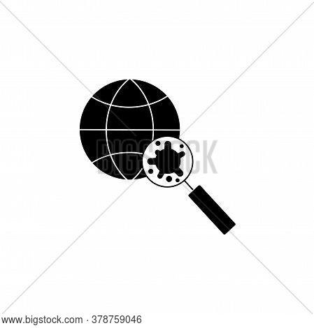 Virus, Bacteria Through A Magnifying Glass On Globe Icon, Symbol, Sign. Coronavirus, Covid-19 Icon,
