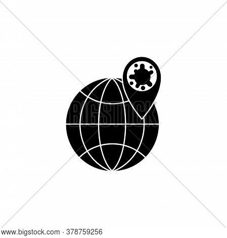 Virus, Bacteria, Map Pointer And Globe Icon, Symbol, Sign. Coronavirus, Covid-19 Icon, Logo Black On