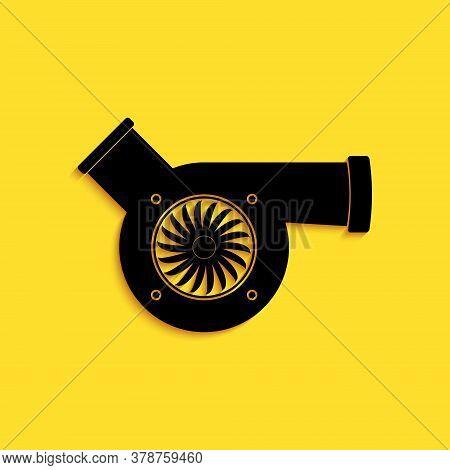 Black Automotive Turbocharger Icon Isolated On Yellow Background. Vehicle Performance Turbo. Car Tur