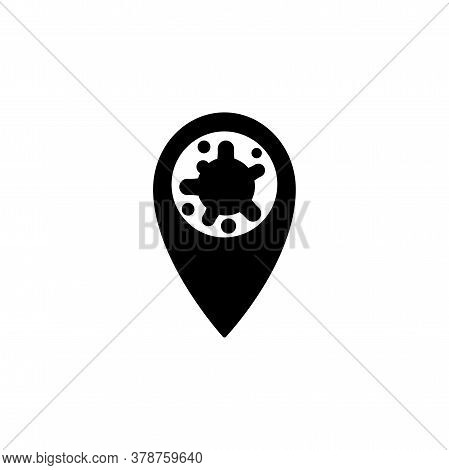 Virus, Bacteria And Map Pointer Icon, Symbol, Sign. Coronavirus, Covid-19 Icon, Logo Black On White