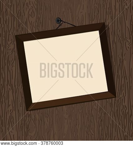 Vector Illustration Abstract Woogen Wall And Empty Frame