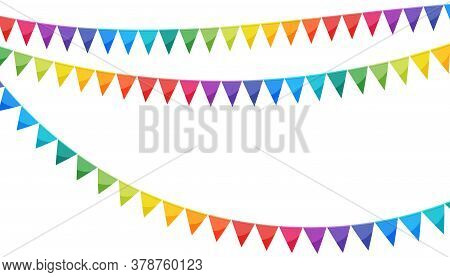 Paper Bunting Party Flags Isolated On White Background. Carnival Garland With Flags In Rainbow Color