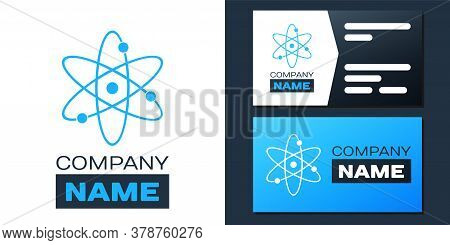 Logotype Atom Icon Isolated On White Background. Symbol Of Science, Education, Nuclear Physics, Scie