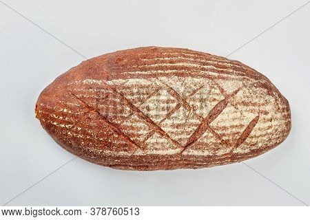 Loaf Of Bread Isolated On White Background. Sourdough Bread Loaf.