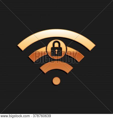 Gold Wifi Locked Sign Icon Isolated On Black Background. Password Wi-fi Symbol. Wireless Network Ico