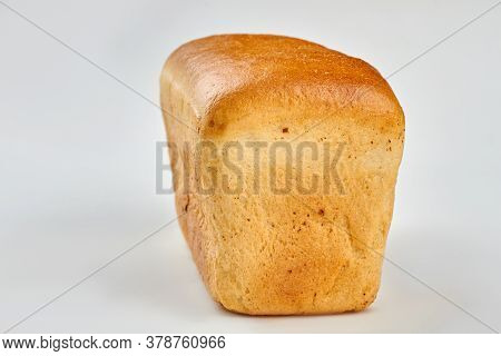 Loaf Of Bread On White Background. Square Long Loaf Of Bread. Space For Text.