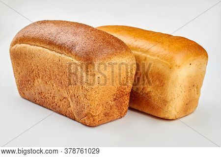 Two Loaves Of Square Bread. Traditional Square Loaves Of White Bread. Healthy Homemade Food.