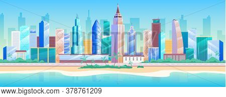 Seaside Metropolis Flat Color Vector Illustration. Modern 2d Cartoon Cityscape With Skyscrapers On B