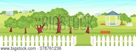 Orchard Flat Color Vector Illustration. Beautiful Garden 2d Cartoon Landscape With Gazebo And Greenh