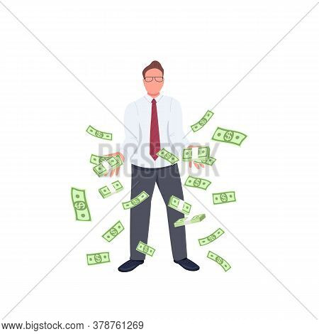 Office Worker Throwing Money Up Flat Color Vector Faceless Character. Financial Success. Successful
