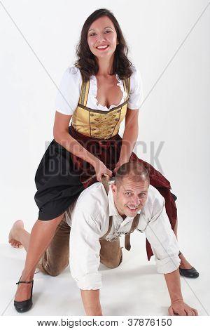Bavarian couple in love frisk