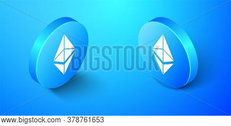 Isometric Cryptocurrency Coin Ethereum Eth Icon Isolated On Blue Background. Digital Currency. Altco