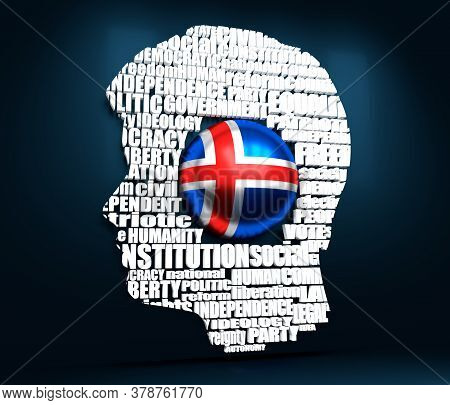 Head Of Man Filled By Word Cloud. Words Related To Politics, Government, Parliamentary Democracy And