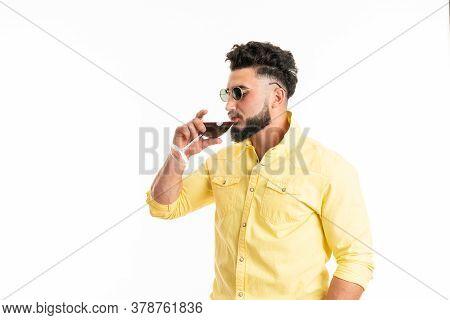 Sommelier, Degustator With Glass Of Red Wine, Winery, Male Winemaker. Beard Man, Bearded, Sommelier