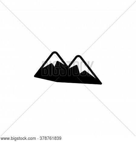 Mountain Icon. Simple Landscape Sign, Logo Black On White