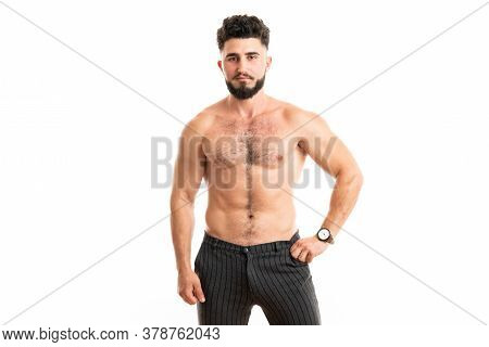 Bodybuilder Posing. Beautiful Sporty Guy Male Power. Fitness Muscled Man. Sport Concept With Copy Sp