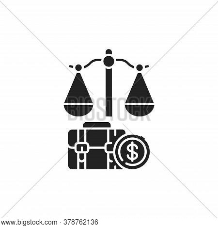Arbitration Court Glyph Black Icon. Judiciary Concept. Employment Law Element. Sign For Web Page, Mo