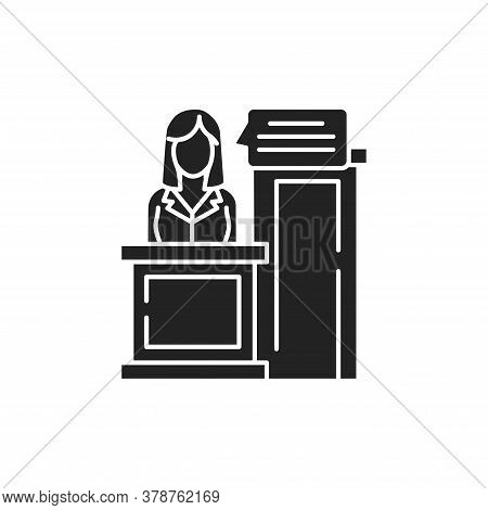 Witness Glyph Black Icon. Young Woman Tells The Version Of The Event. Law Justice Concept. Sign For