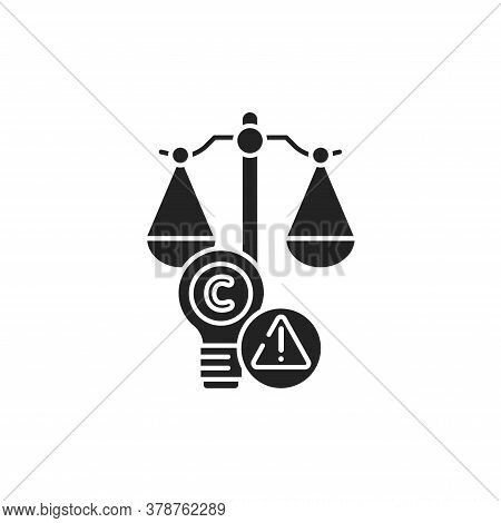 Arbitration Court Glyph Black Icon. Intellectual Property Infringement Concept. Copyright Law Elemen