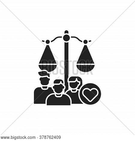 Family Court Glyph Black Icon. Judiciary Concept. Child Custody. Sign For Web Page, Mobile App, Butt