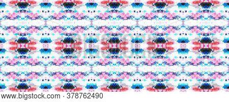 Kimono Tile. Shibori Seamless Pattern. Tie Dye Abstract Texture. Red, White And Blue Organic Minimal