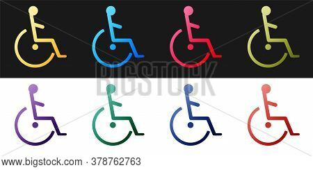 Set Disabled Handicap Icon Isolated On Black And White Background. Wheelchair Handicap Sign. Vector