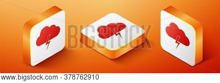 Isometric Storm Icon Isolated On Orange Background. Cloud And Lightning Sign. Weather Icon Of Storm.