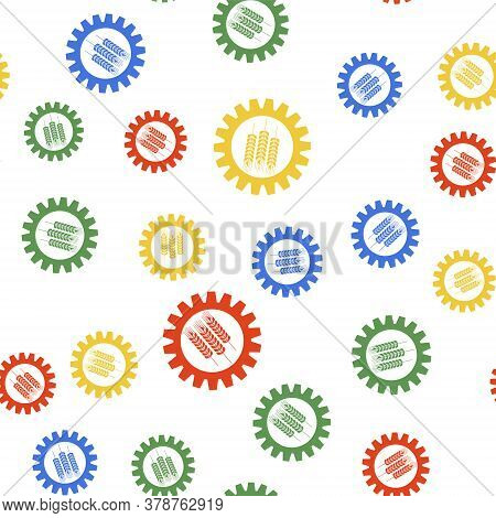 Color Wheat And Gear Icon Isolated Seamless Pattern On White Background. Agriculture Symbol With Cer
