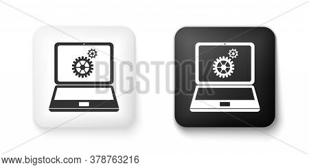 Black And White Laptop And Gears Icon Isolated On White Background. Adjusting App, Service, Setting