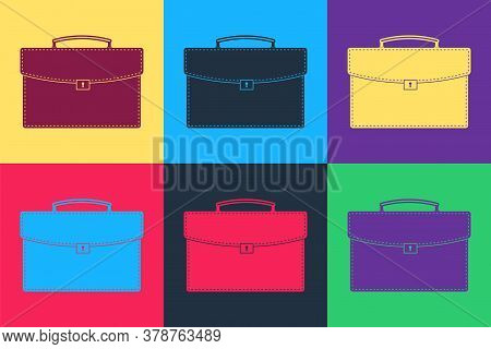 Pop Art Briefcase Icon Isolated On Color Background. Business Case Sign. Business Portfolio. Vector