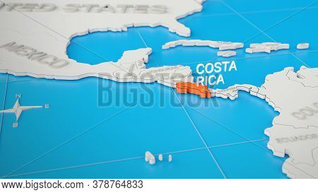 Costa Rica Highlighted On A White Simplified 3d World Map. Digital 3d Render.