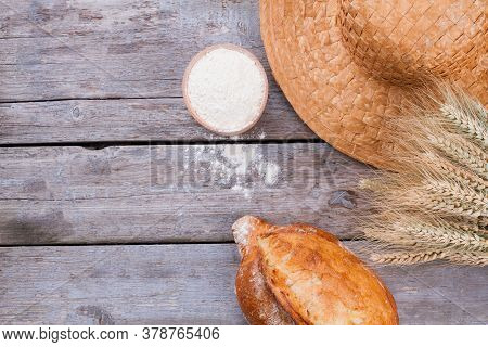 Bread, Flour And Wheat Ears. Artisan Bread On Wooden Background. Rural Still Life.