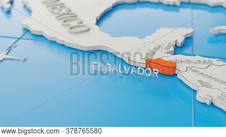 El Salvador Highlighted On A White Simplified 3d World Map. Digital 3d Render.