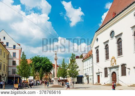 BRATISLAVA, SLOVAKIA - June 27, 2018: Street view of downtown in Bratislava, Slovakia